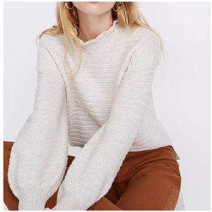NWT MADEWELL Ruffle Neck Pullover Sweater XXL